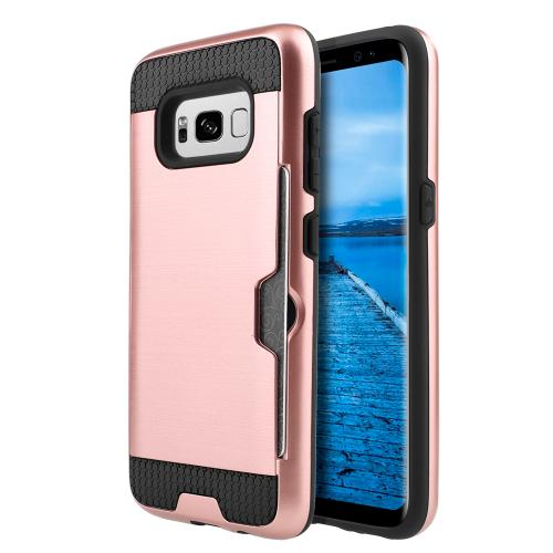 Samsung Galaxy S8 Plus Case, Slim Brushed Metal Hybrid Hard Case on TPU w/ Card Slot [Rose Gold/ Black] with Travel Wallet Phone Stand
