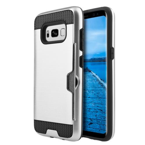 Samsung Galaxy S8 Plus Case, Slim Brushed Metal Hybrid Hard Case on TPU w/ Card Slot [Silver/ Black] with Travel Wallet Phone Stand