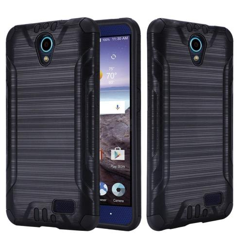 ZTE Avid Trio Case, Slim Armor Brushed Metal Design Hybrid Hard Case on TPU [Black]