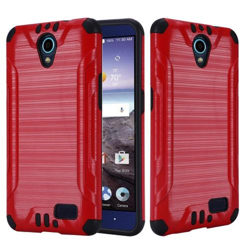 ZTE Avid Trio Case, Slim Armor Brushed Metal Design Hybrid Hard Case on TPU [Red/ Black]