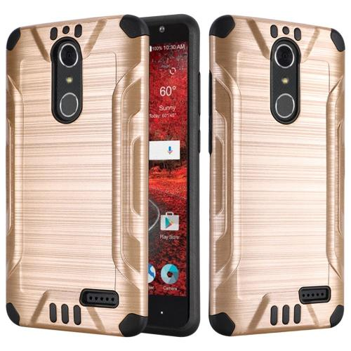 ZTE Grand X 4 Case, Slim Armor Brushed Metal Design Hybrid Hard Case on TPU [Gold/ Black]