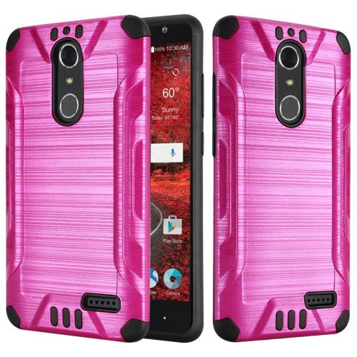 ZTE Grand X 4 Case, Slim Armor Brushed Metal Design Hybrid Hard Case on TPU [Hot Pink/ Black]