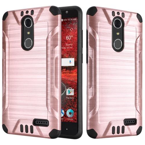 ZTE Grand X 4 Case, Slim Armor Brushed Metal Design Hybrid Hard Case on TPU [Rose Gold/ Black]