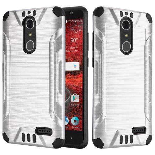 ZTE Grand X 4 Case, Slim Armor Brushed Metal Design Hybrid Hard Case on TPU [Silver/ Black]