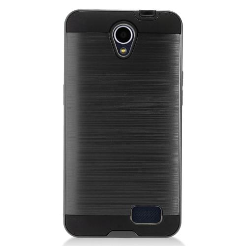 ZTE Prestige 2 Case, Slim Armor Brushed Metal Design Hybrid Hard Case on TPU [Black]