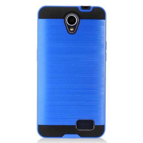 ZTE Prestige 2 Case, Slim Armor Brushed Metal Design Hybrid Hard Case on TPU [Blue]
