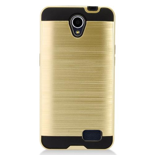 ZTE Prestige 2 Case, Slim Armor Brushed Metal Design Hybrid Hard Case on TPU [Gold]