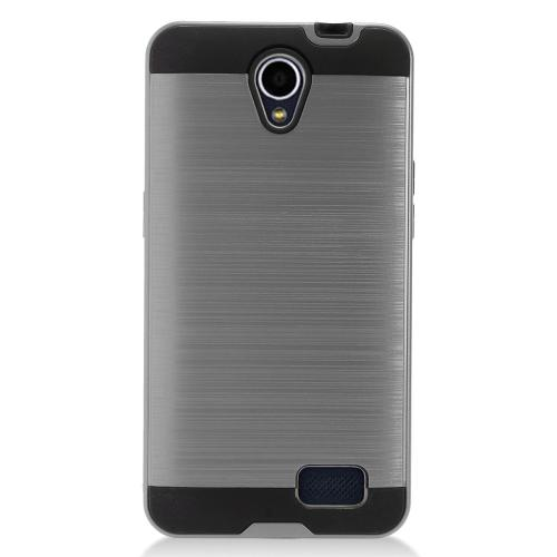 ZTE Prestige 2 Case, Slim Armor Brushed Metal Design Hybrid Hard Case on TPU [Gray]