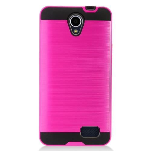 ZTE Prestige 2 Case, Slim Armor Brushed Metal Design Hybrid Hard Case on TPU [Hot Pink]