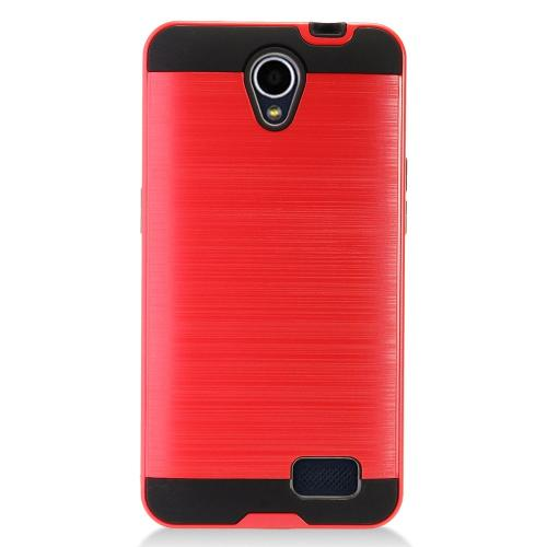 ZTE Prestige 2 Case, Slim Armor Brushed Metal Design Hybrid Hard Case on TPU [Red]