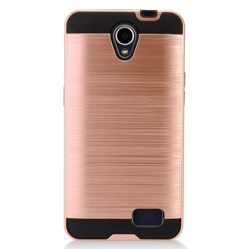 ZTE Prestige 2 Case, Slim Armor Brushed Metal Design Hybrid Hard Case on TPU [Rose Gold]