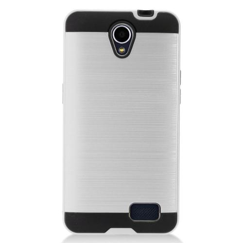 ZTE Prestige 2 Case, Slim Armor Brushed Metal Design Hybrid Hard Case on TPU [Silver]