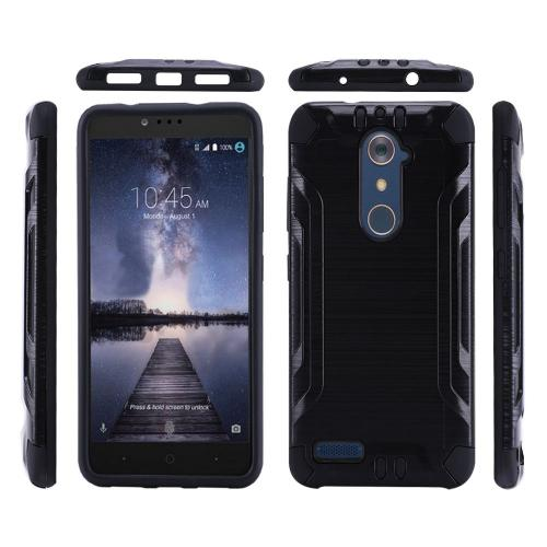 ZTE Z Max Pro Case, Slim Armor Brushed Metal Design Hybrid Hard Case on TPU [Black]