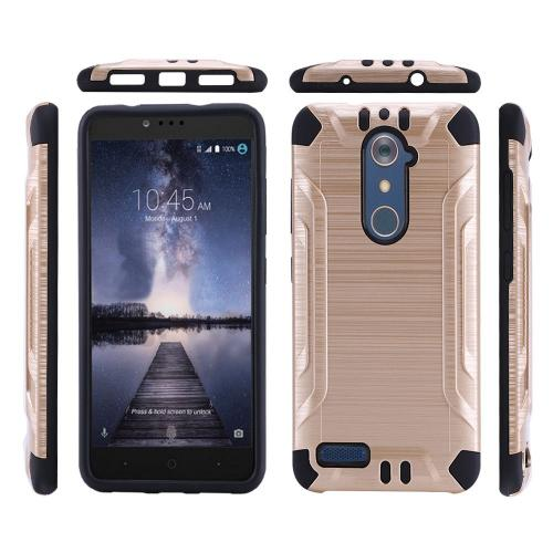 ZTE Z Max Pro Case, Slim Armor Brushed Metal Design Hybrid Hard Case on TPU [Gold/ Black]