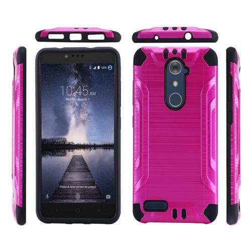 ZTE Z Max Pro Case, Slim Armor Brushed Metal Design Hybrid Hard Case on TPU [Hot Pink/ Black]