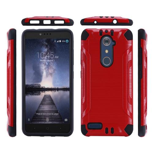 ZTE Z Max Pro Case, Slim Armor Brushed Metal Design Hybrid Hard Case on TPU [Red/ Black]