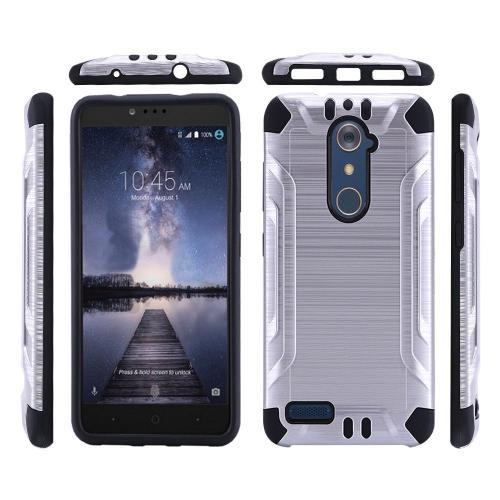 ZTE Z Max Pro Case, Slim Armor Brushed Metal Design Hybrid Hard Case on TPU [Silver/ Black]