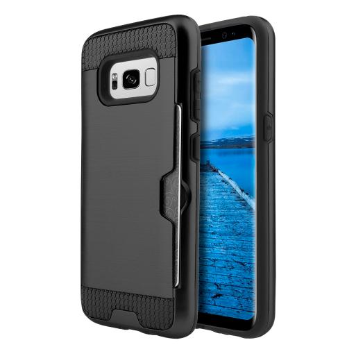 Samsung Galaxy S8 Case, Slim Brushed Metal Hybrid Hard Case on TPU w/ Card Slot [Black] with Travel Wallet Phone Stand