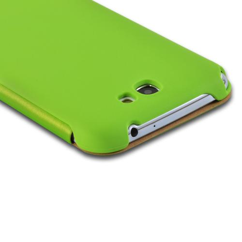 Green Diary Flip Cover Hard Case w/ ID Slot & Satin Cover for Samsung Galaxy Note 2