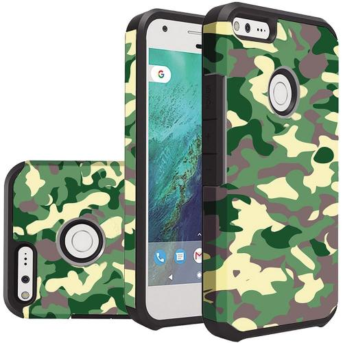 Google Pixel Case, Rubberized Slim Dual layer Hybrid Hard Case on TPU Case [Camouflage Green]