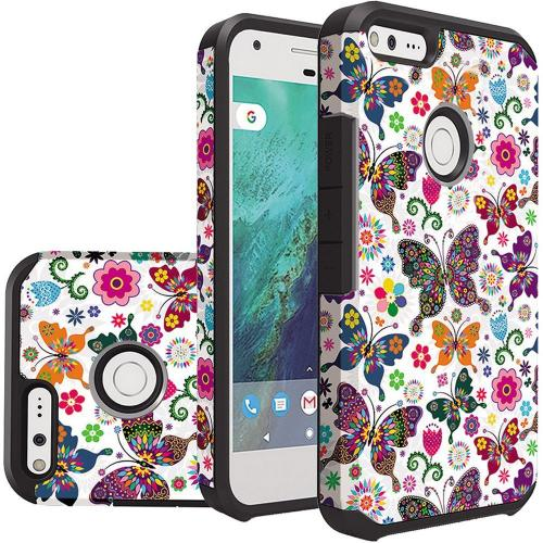 Google Pixel Case, Rubberized Slim Dual layer Hybrid Hard Case on TPU Case [Colorful Butterfly Flower Polka Dot Floral]