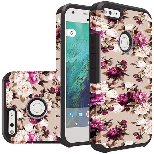 Google Pixel Case, Rubberized Slim Dual layer Hybrid Hard Case on TPU Case [Pink White Roses Floral]