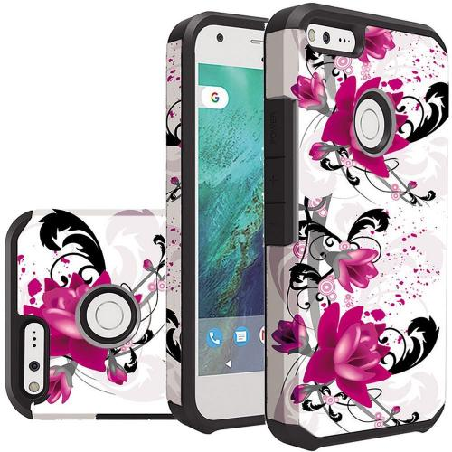 Google Pixel Case, Rubberized Slim Dual layer Hybrid Hard Case on TPU Case [Purple Lily]