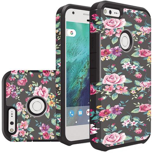 Google Pixel Case, Rubberized Slim Dual layer Hybrid Hard Case on TPU Case [Tropical Romantic Colorful Roses]