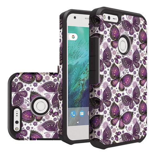 Google Pixel Case, Rubberized Slim Dual layer Hybrid Hard Case on TPU Case [Violet Butterfly Flower Polka Dots Mandala]