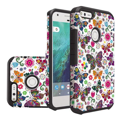 Google Pixel XL Case, Rubberized Slim Dual layer Hybrid Hard Case on TPU Case [Colorful Butterfly Flower Polka Dot Floral]
