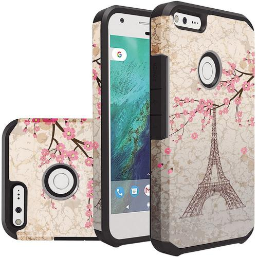 Google Pixel XL Case, Rubberized Slim Dual layer Hybrid Hard Case on TPU Case [White Vintage Eiffel Tower Paris]