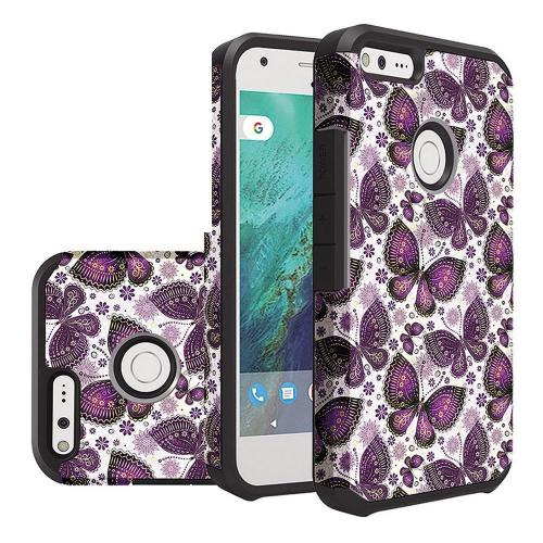 Google Pixel XL Case, Rubberized Slim Dual layer Hybrid Hard Case on TPU Case [Violet Butterfly Flower Polka Dots Mandala]