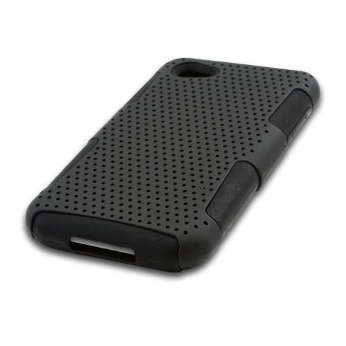 Black Rubberized Mesh on Black Silicone for HTC First