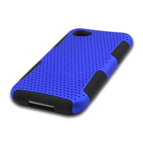 Blue Rubberized Mesh on Black Silicone for HTC First