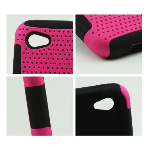 Hot Pink Rubberized Mesh on Black Silicone for HTC First