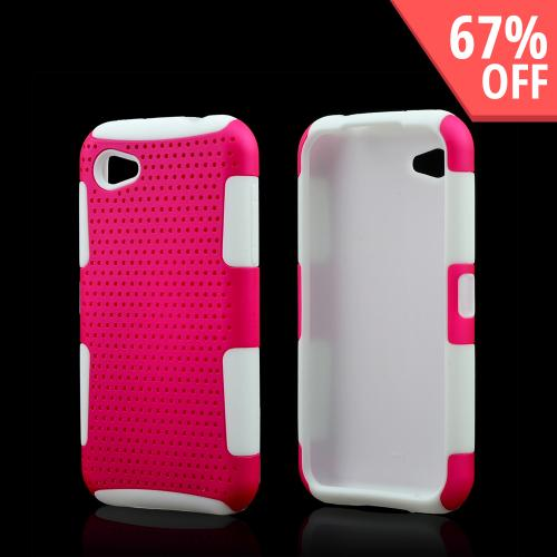 Hot Pink Rubberized Mesh on White Silicone for HTC First