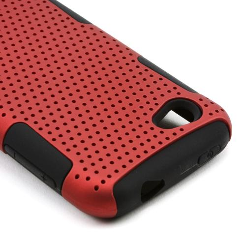 Red Rubberized Mesh on Black Silicone for HTC First