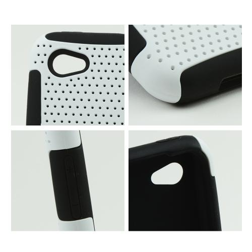 White Rubberized Mesh on Black Silicone for HTC First