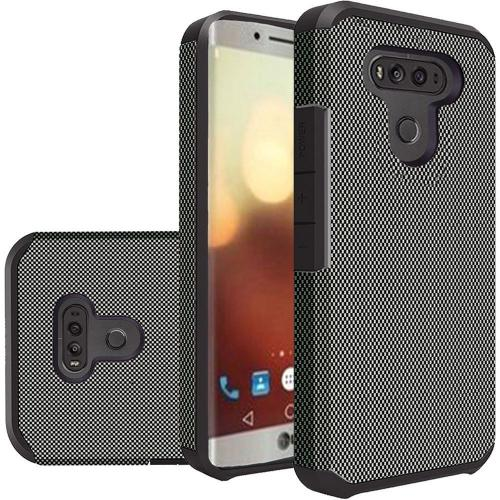 LG G6 Case, Rubberized Slim Dual layer Hybrid Hard Case on TPU Case [Carbon Fiber Design] with Travel Wallet Phone Stand