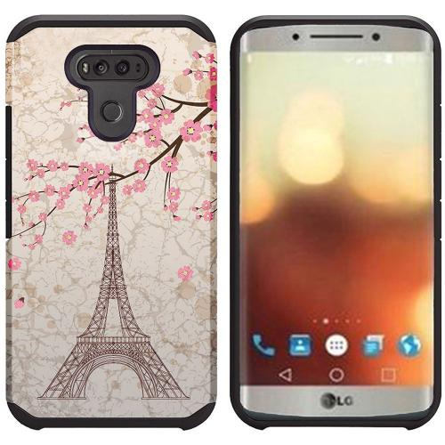 LG G6 Case, Rubberized Slim Dual layer Hybrid Hard Case on TPU Case [White Vintage Eiffel Tower Paris] with Travel Wallet Phone Stand