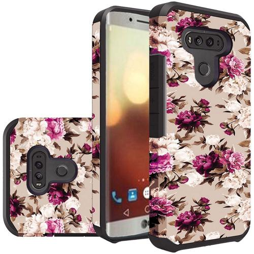 LG G6 Case, Rubberized Slim Dual layer Hybrid Hard Case on TPU Case [Pink White Roses Floral] with Travel Wallet Phone Stand