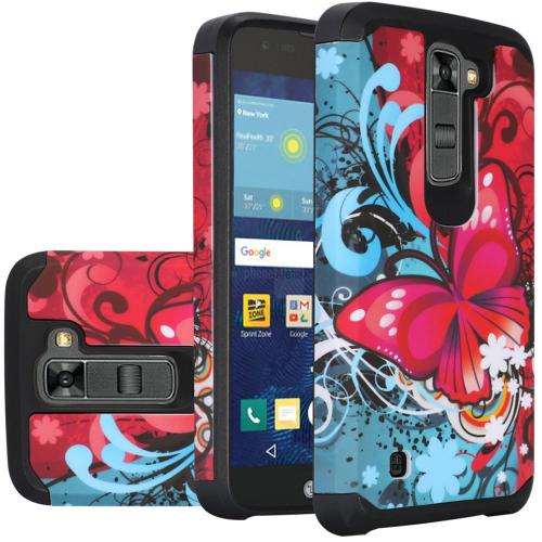 LG K7/ Tribute 5 Case, Rubberized Slim Dual layer Hybrid Hard Case on TPU Case [Butterfly Bliss]