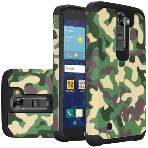 LG K7/ Tribute 5 Case, Rubberized Slim Dual layer Hybrid Hard Case on TPU Case [Camouflage Green]