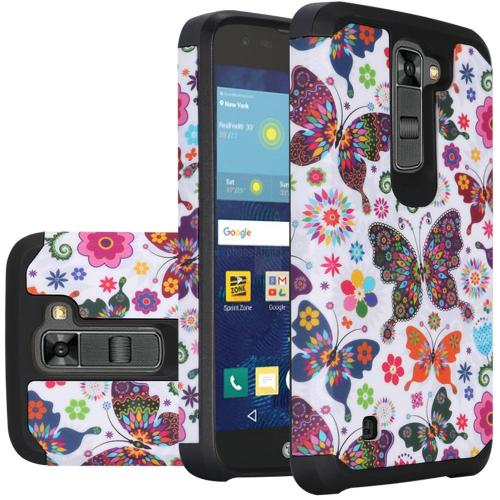 LG K7/ Tribute 5 Case, Rubberized Slim Dual layer Hybrid Hard Case on TPU Case [Colorful Butterfly Flower Polka Dot Floral]