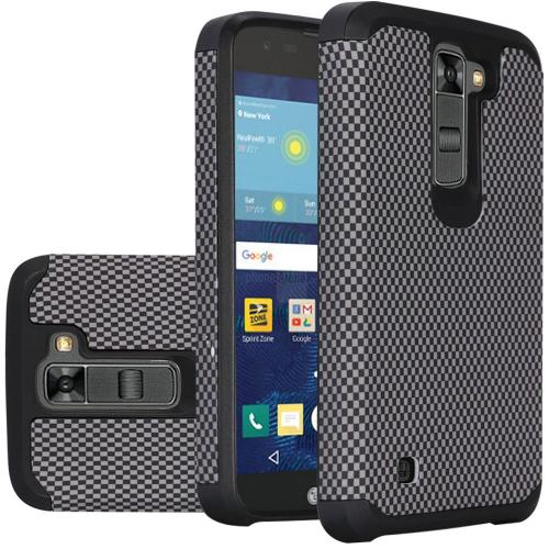 LG K7/ Tribute 5 Case, Rubberized Slim Dual layer Hybrid Hard Case on TPU Case [Carbon Fiber Design]