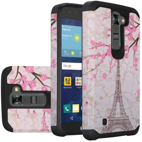 LG K7/ Tribute 5 Case, Rubberized Slim Dual layer Hybrid Hard Case on TPU Case [White Vintage Eiffel Tower Paris]