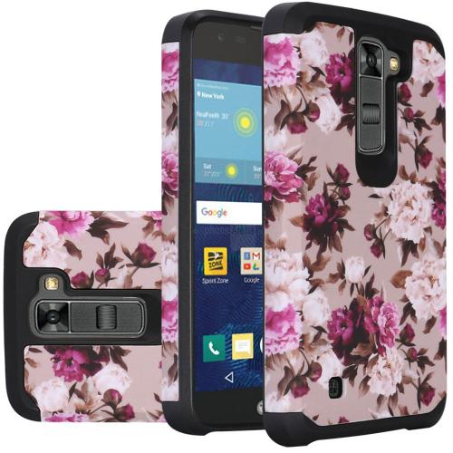 LG K7/ Tribute 5 Case, Rubberized Slim Dual layer Hybrid Hard Case on TPU Case [Pink White Roses Floral]
