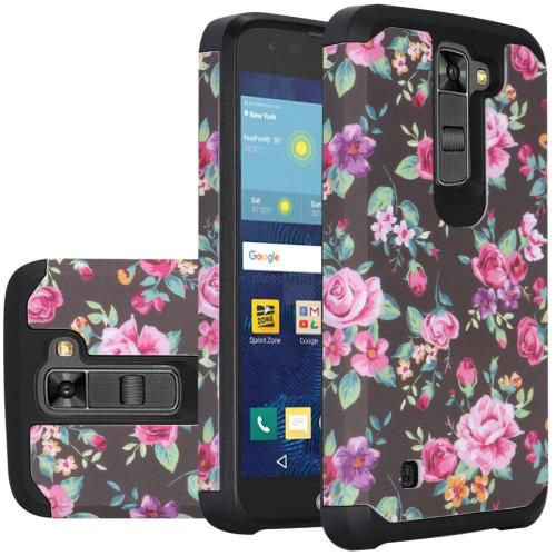 LG K7/ Tribute 5 Case, Rubberized Slim Dual layer Hybrid Hard Case on TPU Case [Tropical Romantic Colorful Roses]