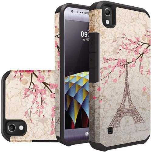 LG Tribute HD Case, Rubberized Slim Dual layer Hybrid Hard Case on TPU Case [White Vintage Eiffel Tower Paris]