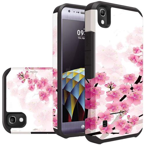 LG Tribute HD Case, Rubberized Slim Dual layer Hybrid Hard Case on TPU Case [Sakura Cherry Blossom]